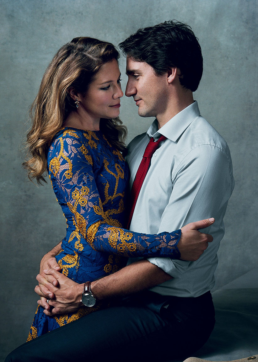 Justin Trudeau and his wife Sophie in a photo from the January 2016 issue of Vogue magazine. (Norman Jean Roy/Vogue)