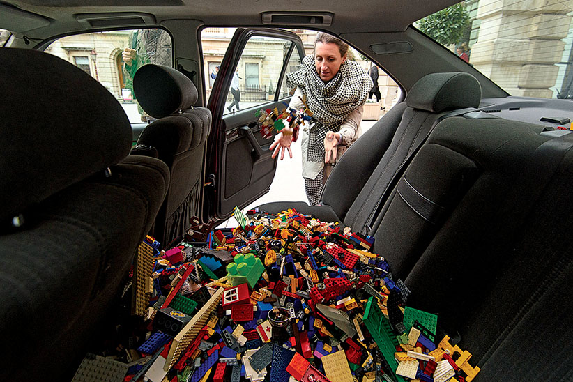 LONDON, ENGLAND - NOVEMBER 09: Donations of Lego bricks are left in a BMW 5 series sedan as part of Chinese artist Ai Weiweis' appeal for lego bricks at The Royal Academy of Arts ahead of his latest art installation on November 9, 2015 in London, England. Collection points have been made around the world by the artist after the Danish toy company Lego refused to sell Ai Weiwei a bulk order of bricks for his upcoming art installation at the National Gallery of Victoria in Melbourne Australia.  (Ben Pruchnie/Getty Images)