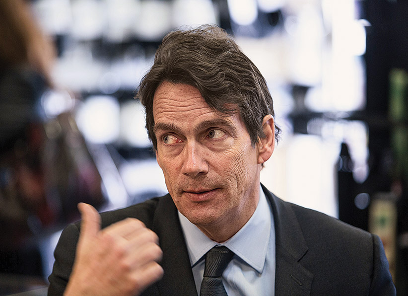 Canadian media tycoon Pierre-Karl Péladeau visits a music store on March 27, 2014 in Saint-Jérôme, Canada. Péladeau announced on March 9 he would run as the Parti Québécois candidate for the Saint-Jérôme provincial electoral district, 60kms (37 miles) northwest of Montreal. The party has welcomed Péladeau's commitment to an independent Quebec. The elections are scheduled for April 7, 2014.     (Francois Laplante Delagrave/AFP/Getty Images)