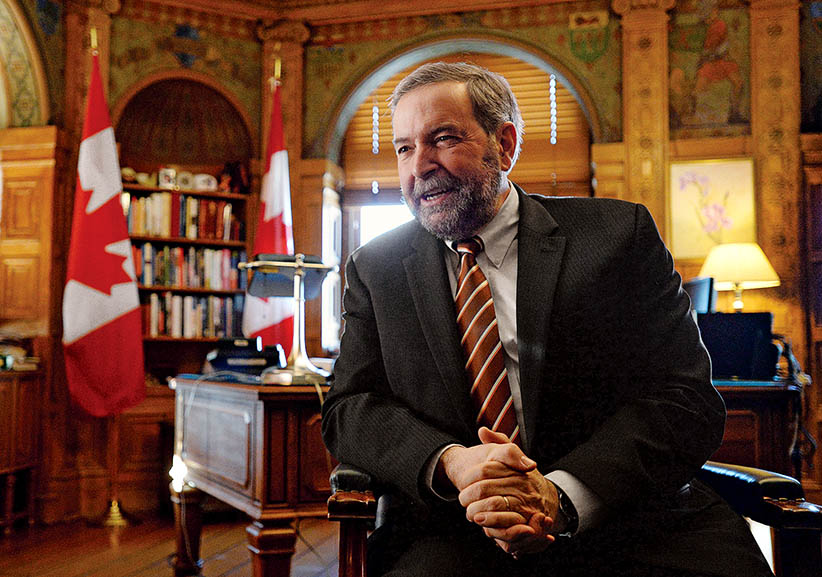 NDP Leader Thomas Mulcair takes part in an interview in his office on Parliament Hill in Ottawa on Friday, January 16, 2015. (Sean Kilpatrick/CP)