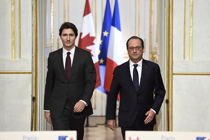 Francois Hollande receives Justin Trudeau, Prime Minister of Canada, for a working lunch at the Elysee palace.