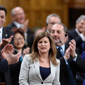 Opposition Leader Rona Ambrose is receives applause during Question Period in the House of Commons in Ottawa, on Monday, Dec. 7, 2015. (Sean Kilpatrick/CP)