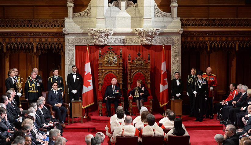 Governor General David Johnston delivers the speech from the throne in the Senate Chamber on Parliament Hill in Ottawa, Friday December 4, 2015. Sean Kilpatrick/CP