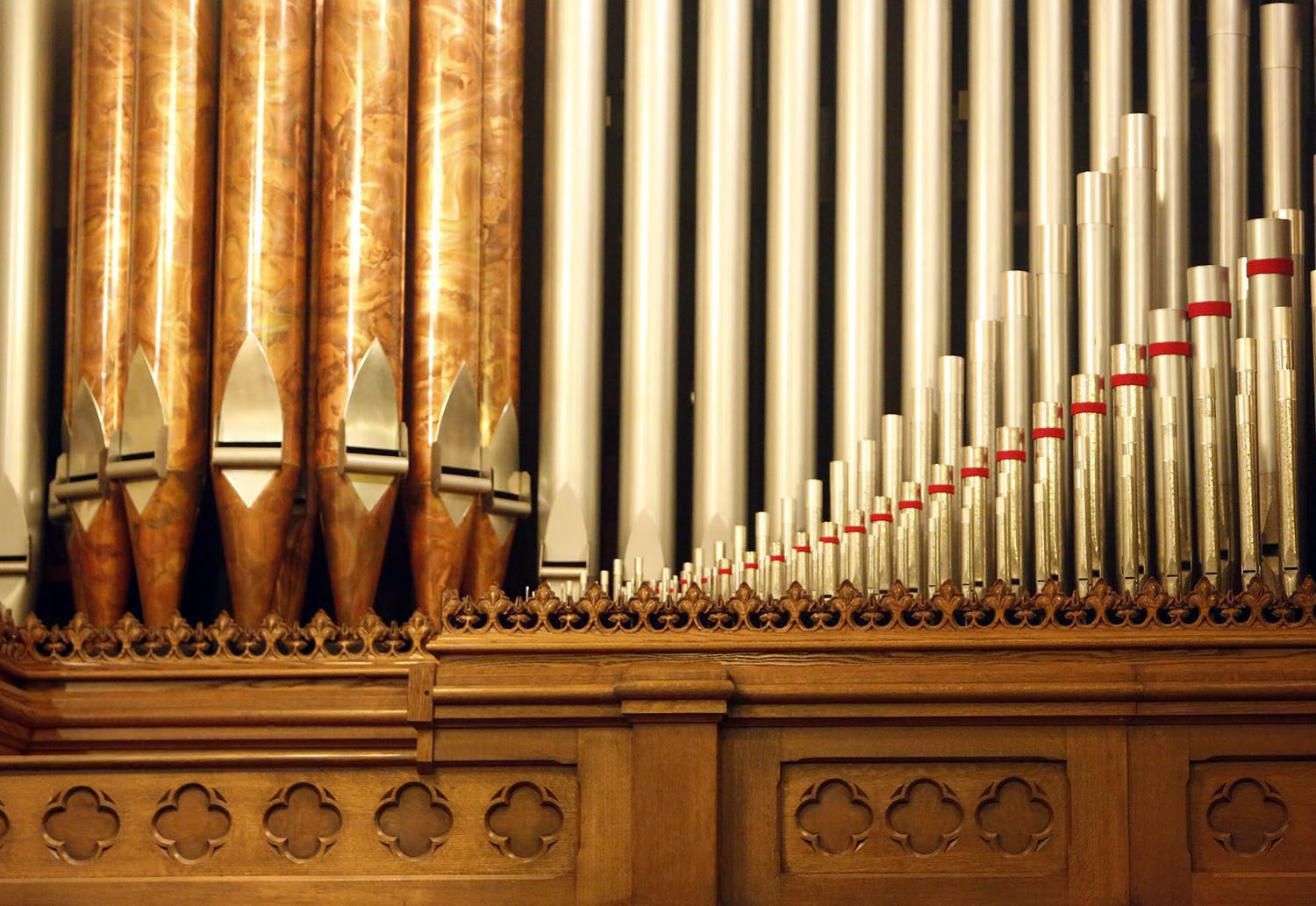 After several months of effort by workers from Cornel Zimmer, of Denver, the refurbished Wicks Organ makes its debut in a free concert at Trinity Episcopal Church in Fort Wayne, Ind. (Chad Ryan/The Journal-Gazette via AP)