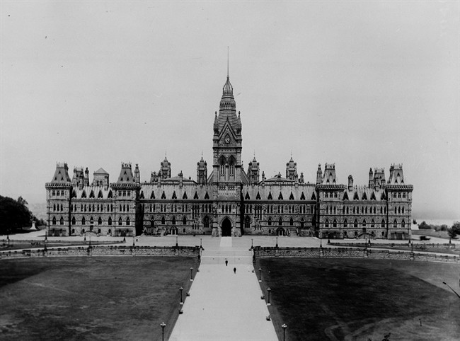 The Parliament Buildings in Ottawa are shown before the1916 fire. (National Archives/CP)