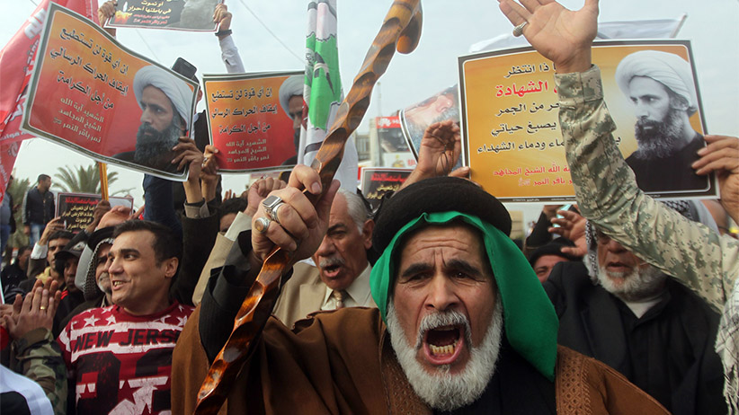 Shiite Muslim Iraqis hold posters showing prominent Shiite cleric Nimr al-Nimr during a demonstration against his execution by Saudi authoritiesin the capital Baghdad on January 6, 2016. Nimr's execution led to Shiite protests in several Muslim countries and attacks on Saudi diplomatic missions in Riyadh's regional rival Tehran.  AHMAD AL-RUBAYE/AFP/Getty Images;