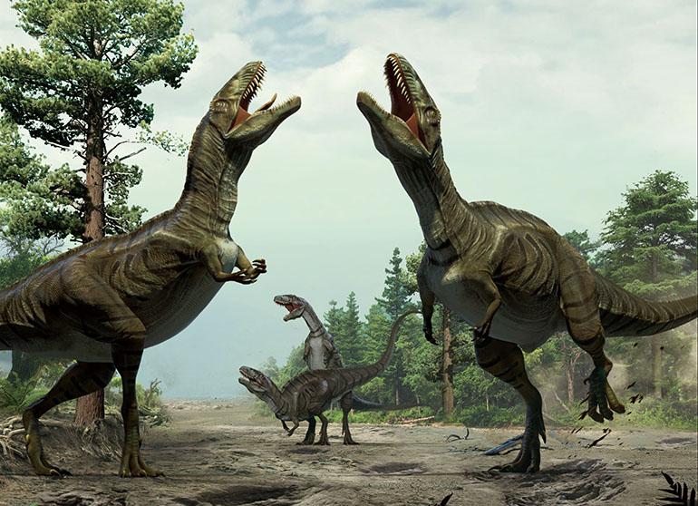 Reconstruction of dinosaurs engaged in sexual display activity. (Lida Xing and Yujiang Han)