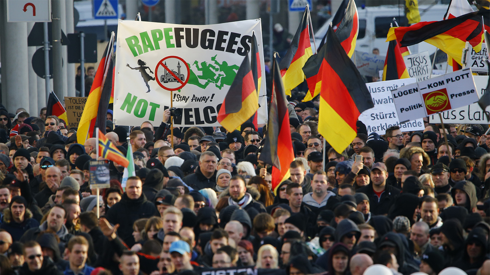 Supporters of anti-immigration right-wing movement PEGIDA (Patriotic Europeans Against the Islamisation of the West) take part in in demonstration rally, in reaction to mass assaults on women on New Year's Eve, in Cologne, Germany, January 9, 2016.  Wolfgang Rattay / Reuters