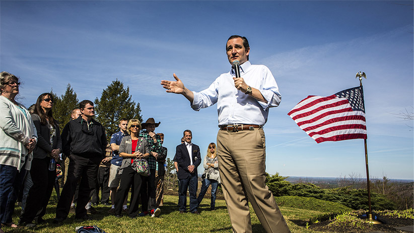 Senator Ted Cruz hosts a meet and greet in Wilton, NH on April 19, 2015. Mark Peterson/Redux