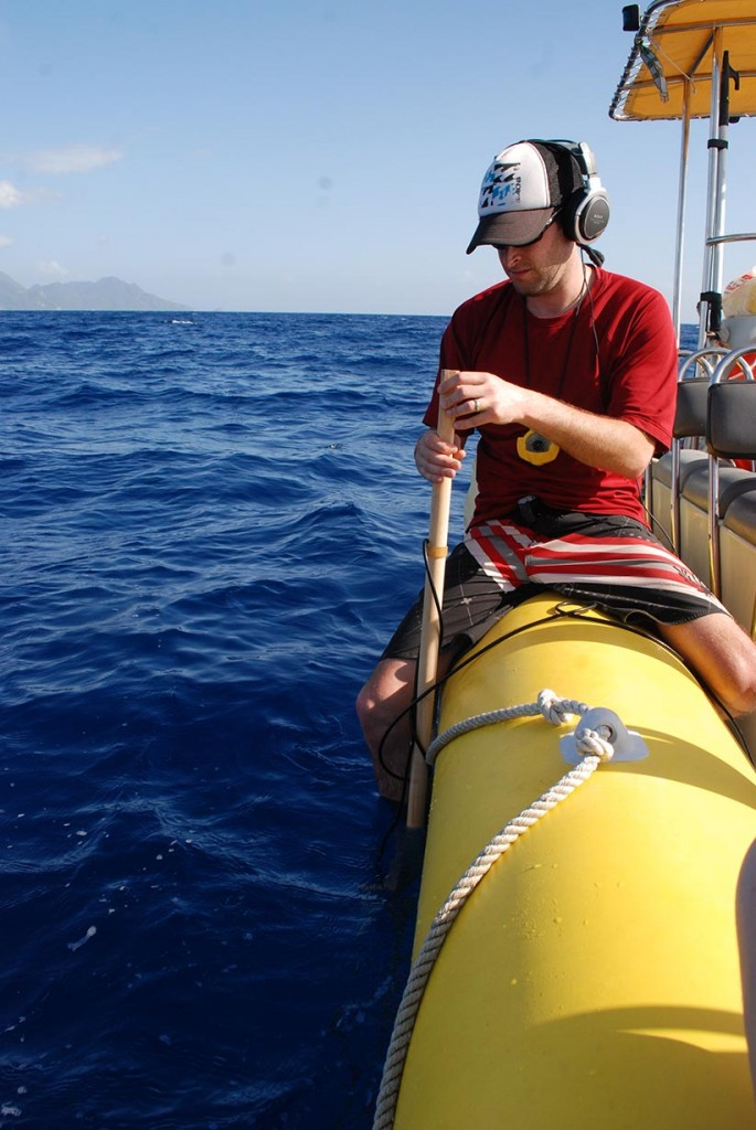Shane Gero uses a directional hydrophone, an underwater microphone that can determine which direction the sound of the whales is are coming from, to locate families of sperm whales off the coast of Dominica. (Marina Milligan/The Dominica Sperm Whale Project)