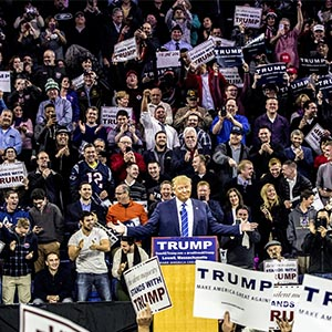 Republican presidential candidate Donald J. Trump held a campaign rally in Lowell, Mass. on January 4, 2016. (Mark Peterson/Redux)