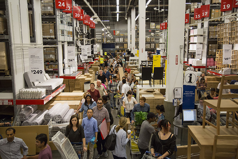 Customers wait in line to checkout at an Ikea store in the Brooklyn borough of New York, U.S., on Saturday, Sept. 19, 2015. The U.S. Census Bureau is scheduled to release monthly durable goods data on Sept. 24. (Michael Nagle/Bloomberg/Getty Images)