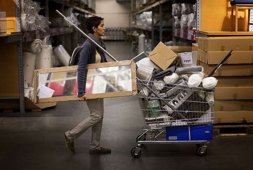A customer gathers items to purchase in the warehouse of an Ikea store in the Brooklyn borough of New York, U.S., on Wednesday, Sept. 26, 2012. The U.S. Census Bureau is scheduled to release durable goods data on Sept. 27. (Victor J. Blue/Bloomberg/Getty Images)