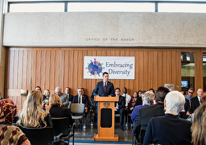 Mayor Brian Bowman marks the one-year anniversary of Winnipeg's designation as Canada's most racist city. Bowman announced that 2016 would be a year of reconciliation for the city. (Photograph by Sam Karney)