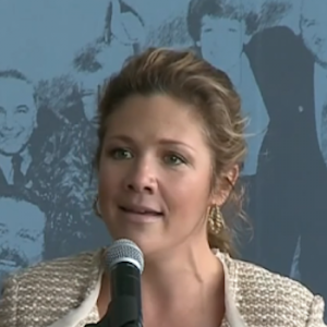 Sophie Gregoire-Trudeau sings a song at a Martin Luther King Jr. Day event.