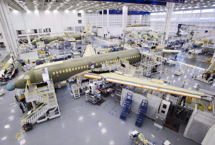 Bombardier's CS100 assembly line is seen at the company's plant Friday, December 18, 2015 in Mirabel, Que. After years of delays and cost overruns, Bombardier's CSeries commercial aircraft has been certified by Canada's transportation regulator. THE CANADIAN PRESS/Ryan Remiorz