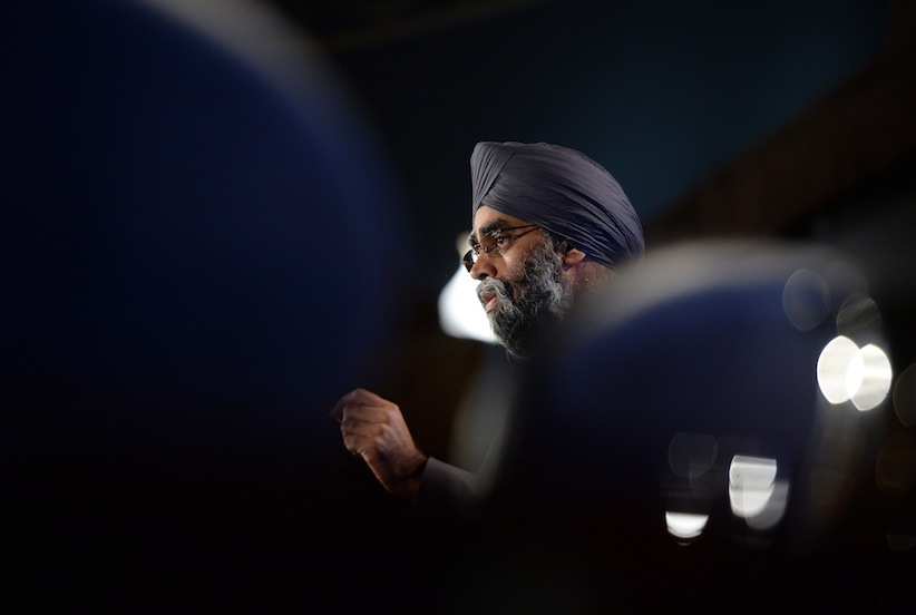 Defence Minister Harjit Sajjan speaks during a conference on foreign affairs in Ottawa on Friday, Jan. 29, 2016. (Sean Kilpatrick/CP)