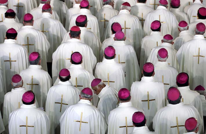 Members of the cleric participate in a mass celebrated by Pope Francis at Guadalupe's basilica in Mexico City, February 13, 2016. (Max Rossi/Reuters)