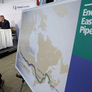The Energy East pipeline proposed route is pictured as TransCanada officials speak during a news conference in Calgary, on Aug. 1, 2013. A new report being released by environmental groups questions whether the proposed Energy East pipeline is necessary to supplant Eastern Canada's oil imports from the foreign suppliers frequently mentioned by TransCanada Corp. THE CANADIAN PRESS/Jeff McIntosh
