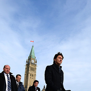 Prime Minister Justin Trudeau makes his way to a press conference at the National Press Theatre in Ottawa on Monday, Feb. 8, 2016. THE CANADIAN PRESS/Sean Kilpatrick