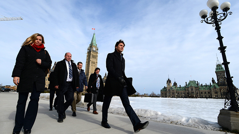 Prime Minister Justin Trudeau makes his way to a press conference at the National Press Theatre in Ottawa on Monday, Feb. 8, 2016. (Sean Kilpatrick/CP)