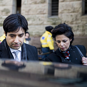 Jian Ghomeshi (middle) leaves with co counsel Danielle Robitaille (left) and lawyer Marie Henein.Jian Ghomeshi exits the courthouse after his trial arguments ended. The verdict is to come March 24. (Carlos Osorio/Toronto Star/Getty Images)