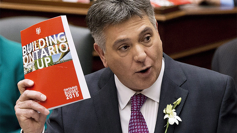 Finance Minister Charles Sousa delivers the tabling of the budget at Queen's Park in Toronto on Thursday, April 23, 2015. (Nathan Denette/CP)