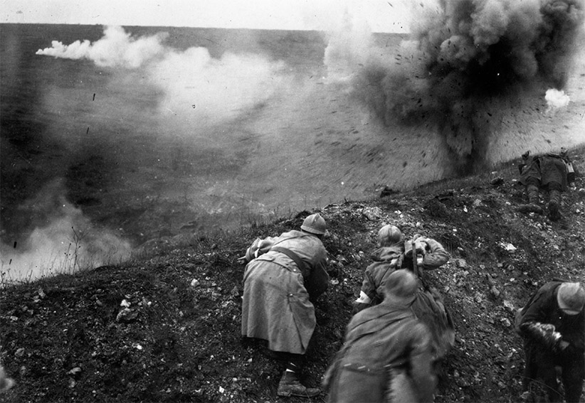 French troops under shellfire during the Battle of Verdun. (General Photographic Agency/Getty Images)