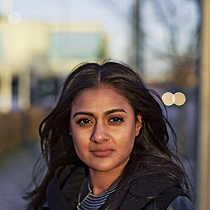 Navi Dhanota, a York University student won a precedent-setting human rights complaint against the school. She pictured near her home on a cold January day. Toronto, Canada. January 11, 2016. (Nick Kozak)