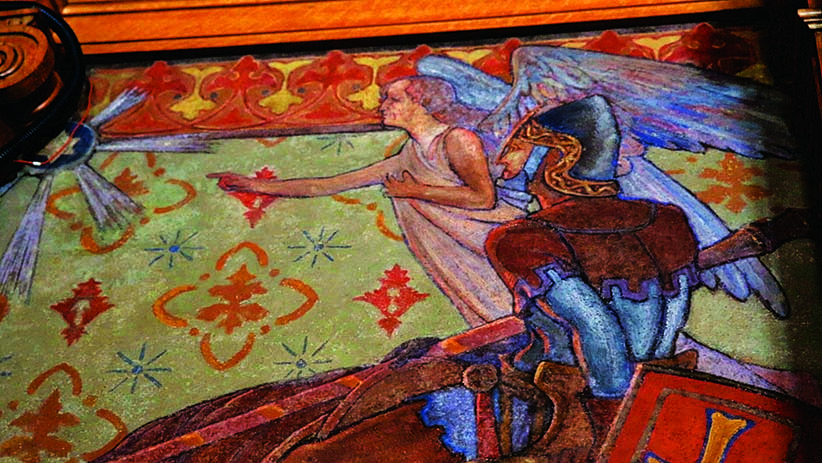 Mural detail from the Opposition Leader's office on Parliament Hill. It is believed that Mackenzie King asked to have his mother's face painting into the face of this angel.  (Photograph by Carla Antonio)