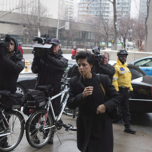 Marie Henein, the lawyer representing former CBC radio host Jian Ghomeshi, arrives at a Toronto court for day six of his trial on Tuesday, Feb. 9, 2016. (Chris Young/CP)