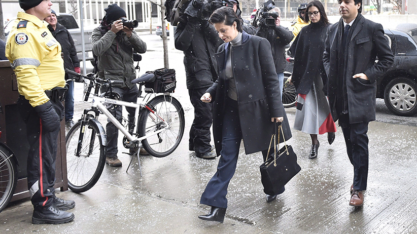Former CBC radio host Jian Ghomeshi and his lawyer Marie Henein arrive at a Toronto court on Wednesday, Feb. 10, 2016. (Nathan Denette/CP)
