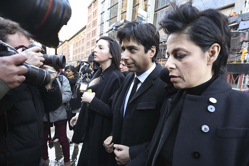 TORONTO, ON - FEBRUARY, 1  - Ghomeshi arrives with his lawyer, Marie Henein First day of the  former CBC hosJian Ghomeshi trial at Old City Hall court. (Richard Lautens/Toronto Star/Getty Images)