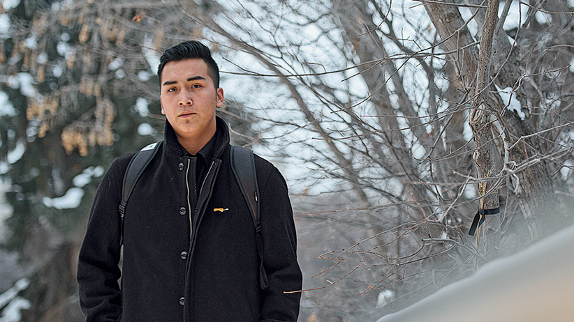 Andre Couillonneur poses for a portrait near the Education Building on the University of Saskatchewan Campus in Saskatoon, SK on January 23rd, 2016.