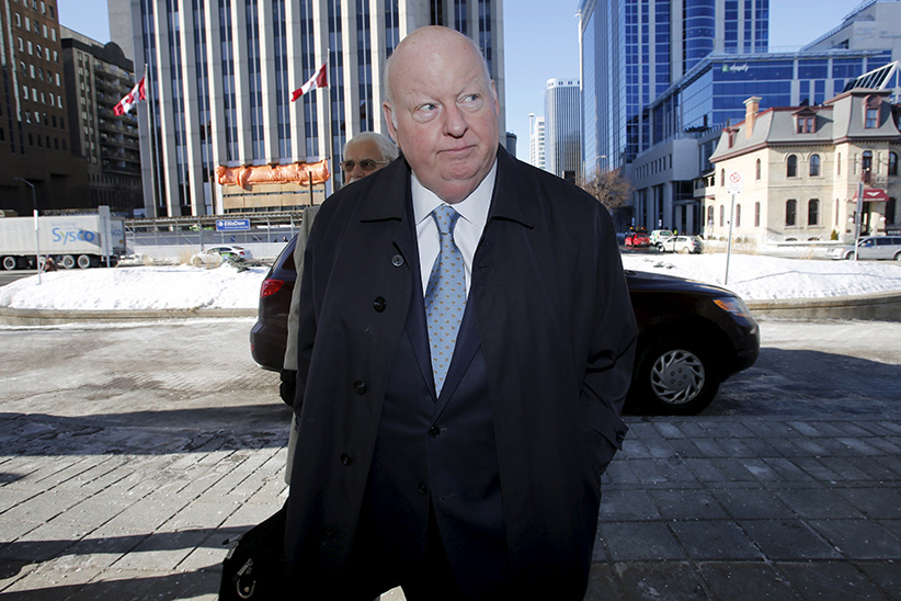 Senator Mike Duffy, who is on trial for fraud, bribery and breach of trust, arrives at the courthouse in Ottawa, Canada, February 22, 2016. (Chris Wattie/Reuters)