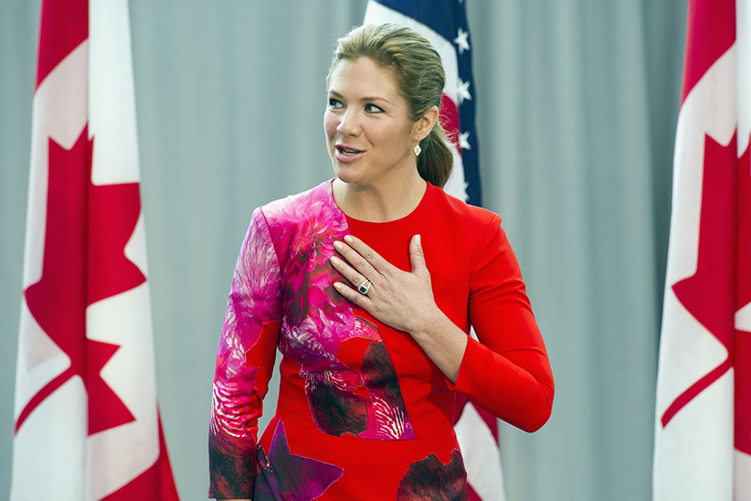 Sophie Grégoire-Trudeau, wife of Canadian Prime Minister Justin Trudeau, places her hand over her heart while participating in a program at the U.S. Institute of Peace in Washington, Thursday, March 10, 2016, to highlight Let Girls Learn efforts and raise awareness for global girl's education. (Cliff Owen/AP)