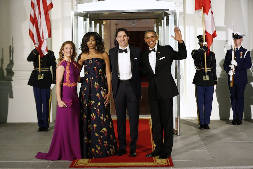 President Barack Obama and first lady Michelle Obama pose for a photo with Canadian Prime Minister Justin Trudeau and Sophie Grégoire Trudeau at the North Portico of the White House in Washington, Thursday, March 10, 2016, as they arrive for a state dinner. (AP Photo/Pablo Martinez Monsivais)