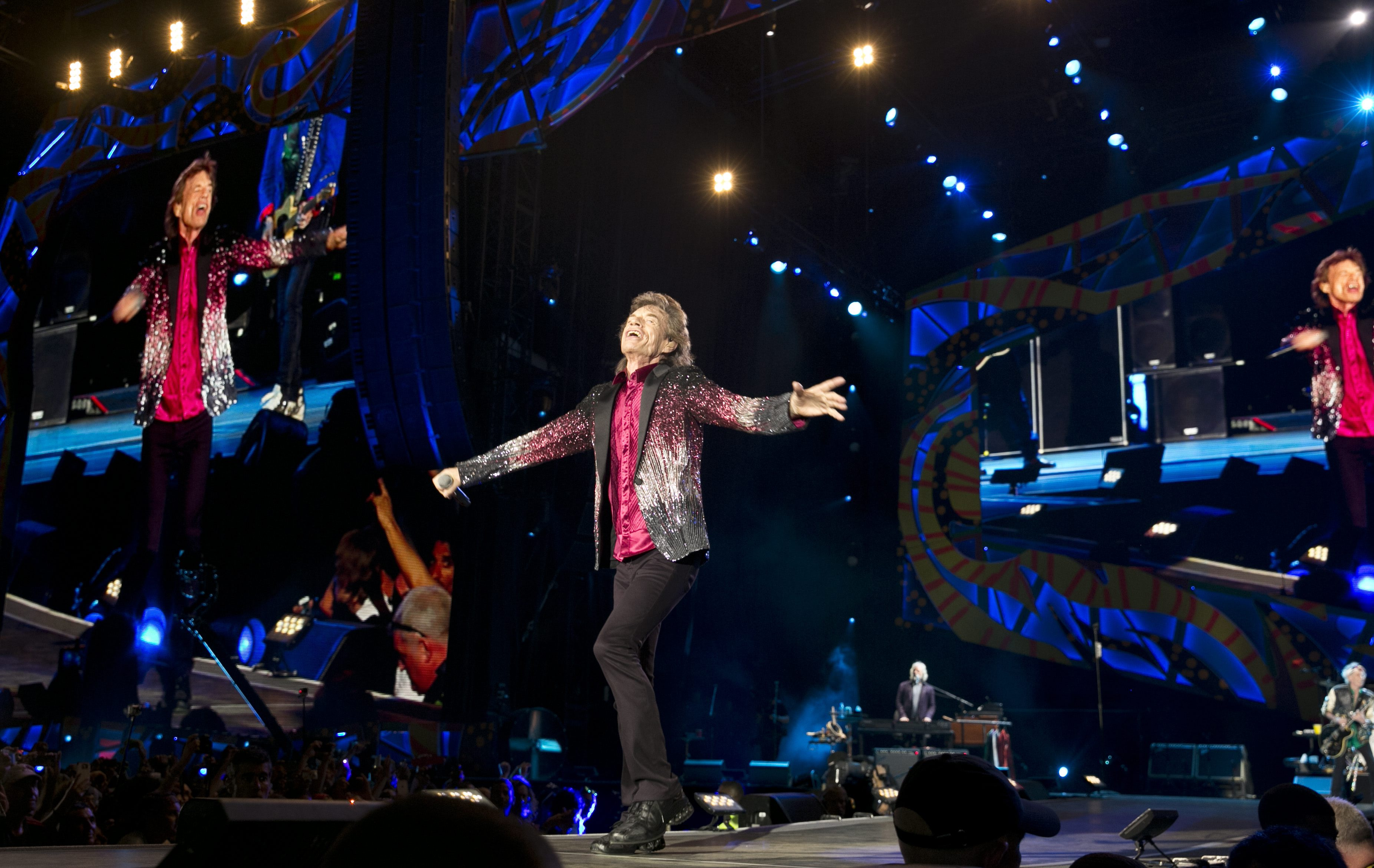 Mick Jagger of The Rolling Stones performs in Havana, Cuba, Friday March 25, 2016. The Stones are performing in a free concert in Havana Friday, becoming the most famous act to play Cuba since its 1959 revolution. (AP Photo/Enric Marti)