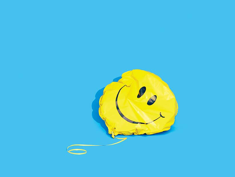Deflated smiley face balloon. (Photograph by Daniel Ehrenworth)