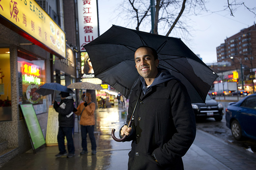 Author Neil Pasricha is photographed in Chinatown in Toronto. (Kevin Van Paassen/Globe and Mail/Getty Images)