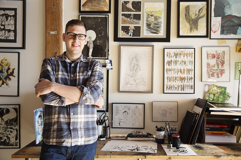Artist Jeff Lemire in his studio. (Photograph by Kayla Chobotiuk)