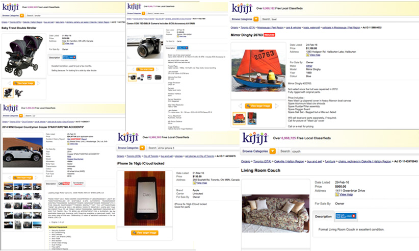 A collage of Kijiji ads.