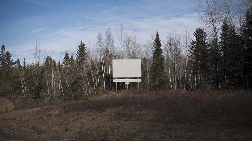 A blank advertising board is seen off the Trans Canada Highway near Sussex, N.B. on Saturday, March 5, 2016. (Photograph by Darren Calabrese)
