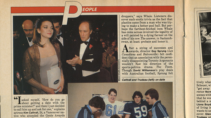 An article from Maclean's 1981 issue featuring a photo of Kim Cattrall and Prime Minister Pierre Elliott Trudeau. (Maclean's)