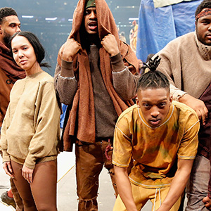 Models pose during Kanye West Yeezy Season 3 on February 11, 2016 in New York City. (JP Yim/Getty Images)