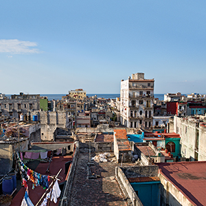 View of Havana from the luxurious La Guarida restaurant, a famous first stop for all celebrity visits.