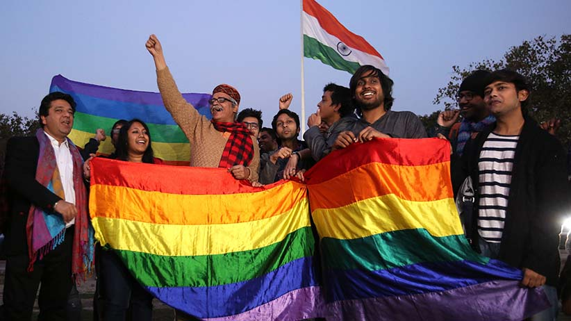 Indian Activists of the LGBT (Lesbian, Gay, Bisexual and Transgender) community react after the hearing at the Supreme Court, in New Delhi, India, 02 February 2016. Indian gay rights campaigners were optimistic on 02 February after a petition to strike down an anti-gay-sex law was passed up to a larger bench in the Supreme Court. The move by the court's three top judges to refer the case up to a five-judge bench indicates that it has been considered of constitutional importance. (RAJAT GUPTA/EPA/CP)