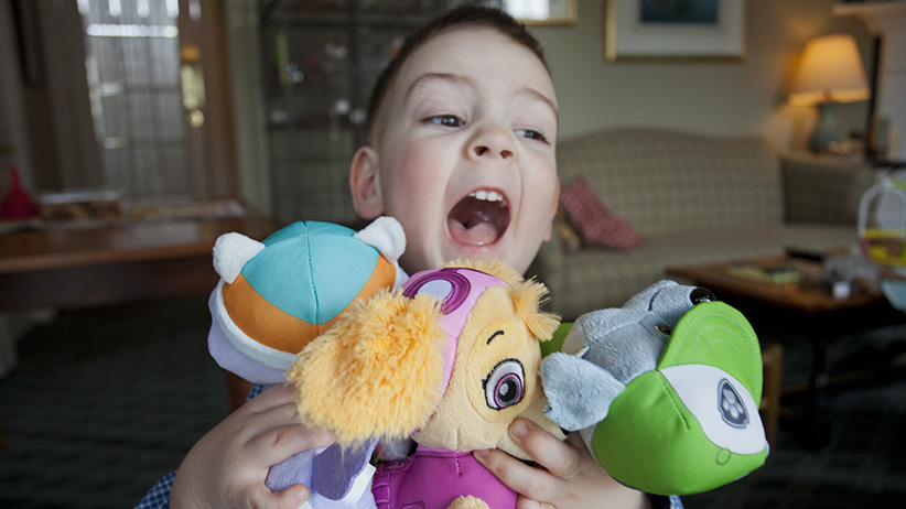 A boy with Paw Patrol toys. (Photograph by Liz Sullivan)