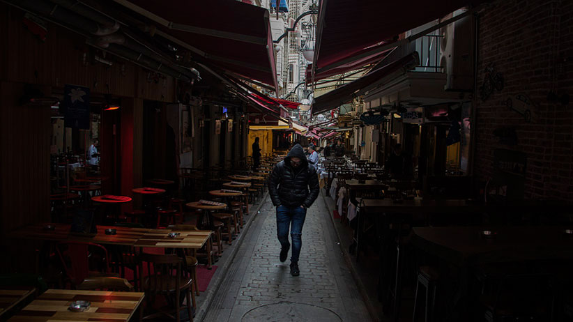 Istanbul, Turkey  Hamid Ismail (not his real name) walks through Istanbul's Beyoglu district.  The 27-year old Syrian refugee is trying to go through the legal United Nations resettlement program to start a new life after he dodged the draft in Syria. (Photograph by Adnan R. Khan)