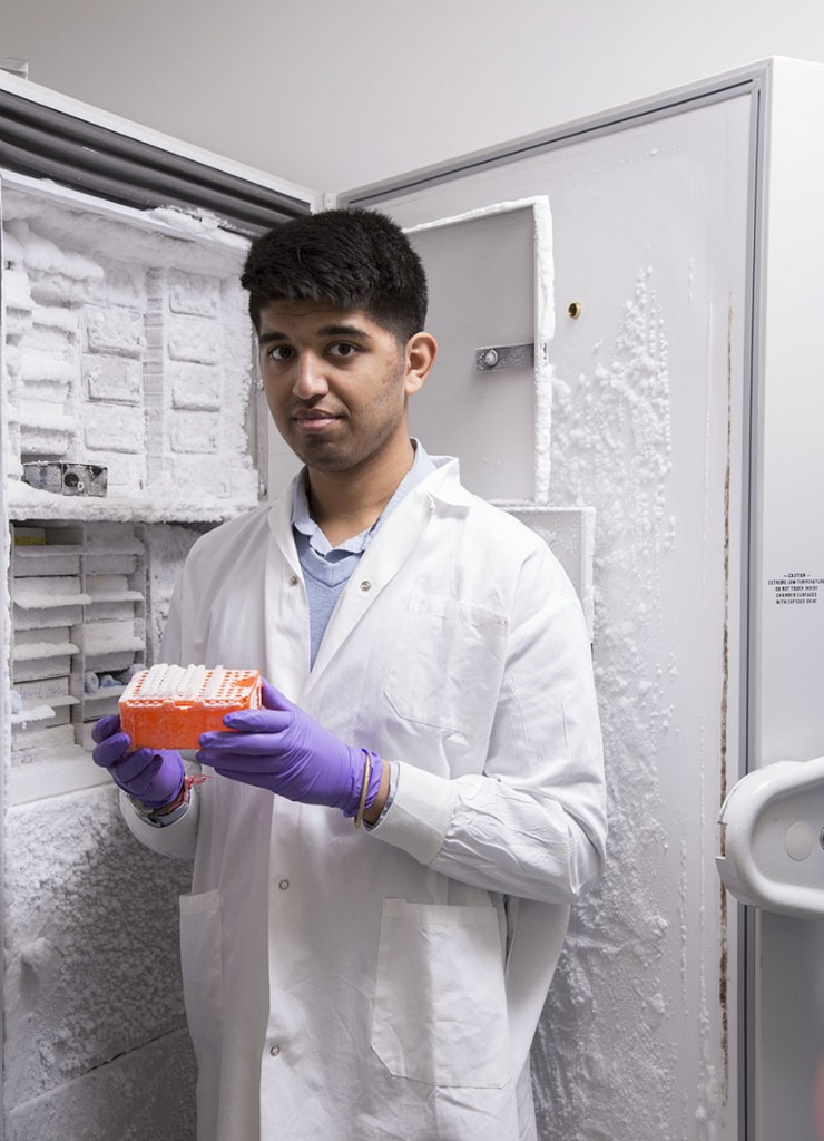 McGill University student studying Microbiology, Aditya Mohan. (Photograph by Roger Lemoyne)